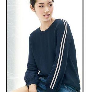 J.CREW Double-stripe crepe blouse
